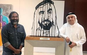افتتاح المعرض الفني (اللوحة قصيدة بلا كلمات) في مؤسسة العويس الثقافية