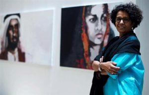 Emirati artist Fatma Lootah has her paintings displayed in New York's Times Square