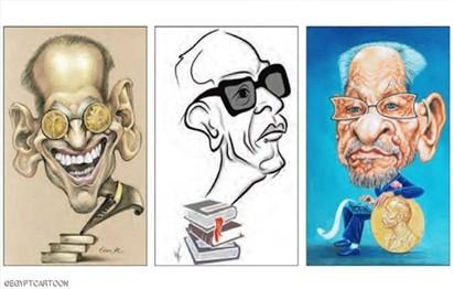100 بورتريه للأديب نجيب محفوظ في ملتقى القاهرة الدولي للكاريكاتير