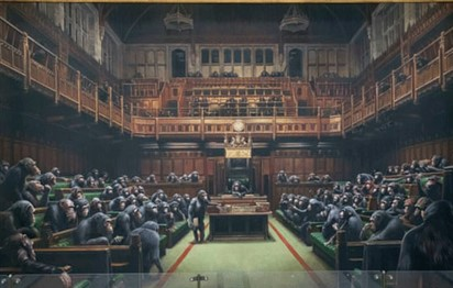 Read more about the article Auction for Banksy artwork depicting MPs as chimpanzees