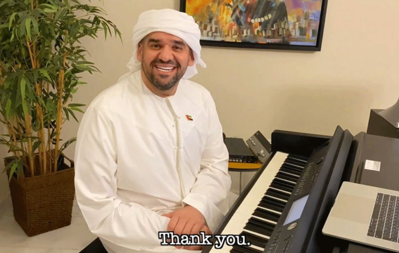 Emirati singer Hussain Al Jassmi thanks the UAE during 'One World' concert