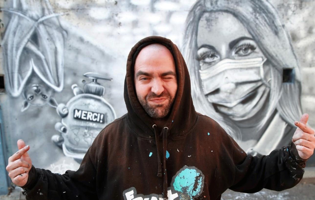 Swiss street artist pays tribute to unsung coronavirus heroes