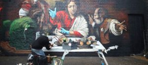 Locked out of galleries, Londoners find Caravaggio street art