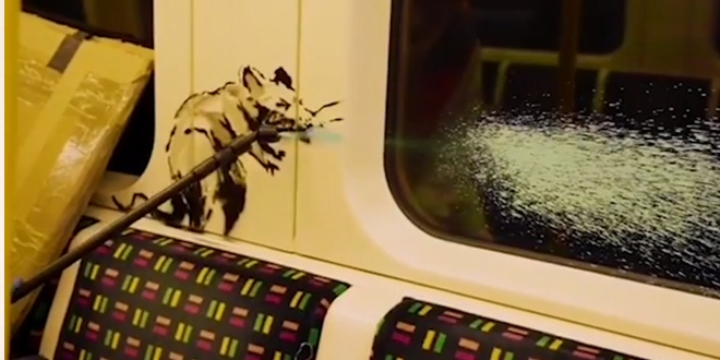 You are currently viewing Banksy's face mask artwork worth £7.5m scrubbed from London Underground train